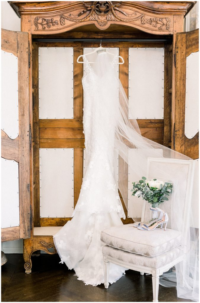 wedding dress in bridal suite at Park Chateau