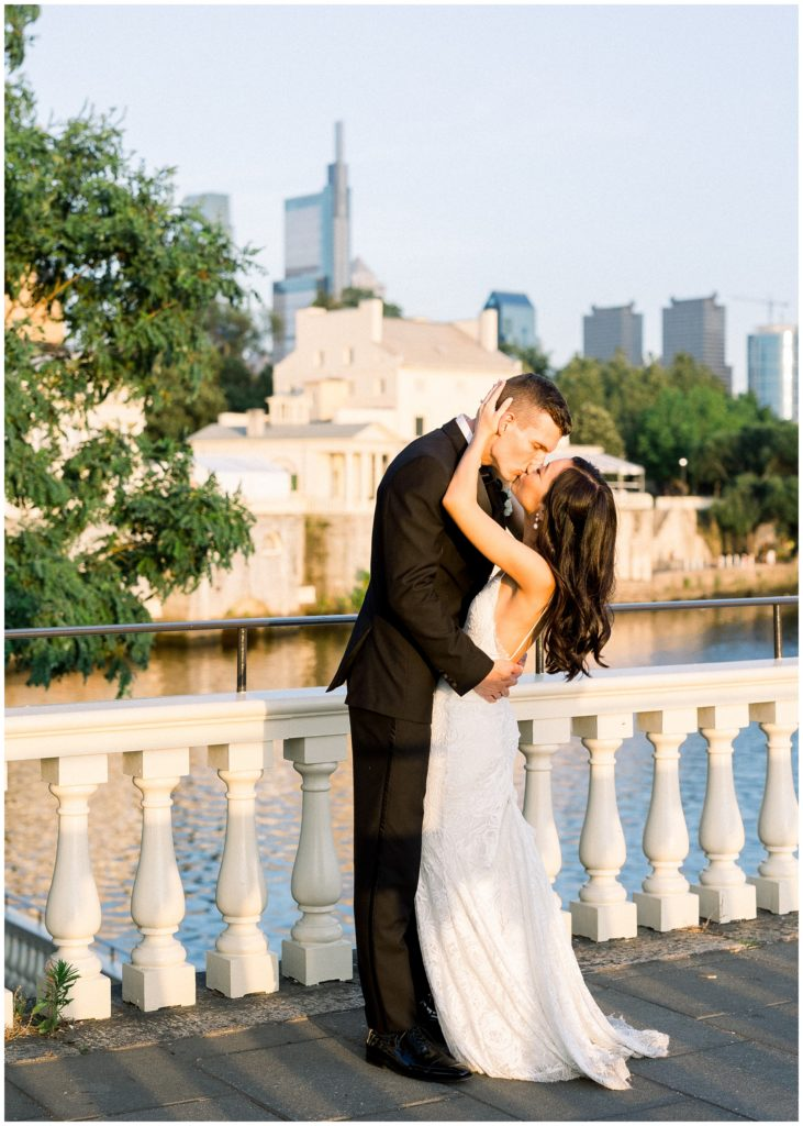 bride and groom at Philadelphia Water Works by Cescaphe