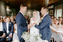 Bride being given away at New Forest wedding