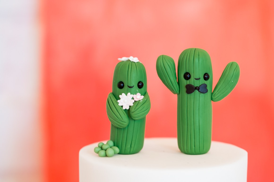 Cacti wedding cake toppers