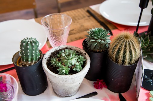 Small cacti in black pots on a wedding reception table
