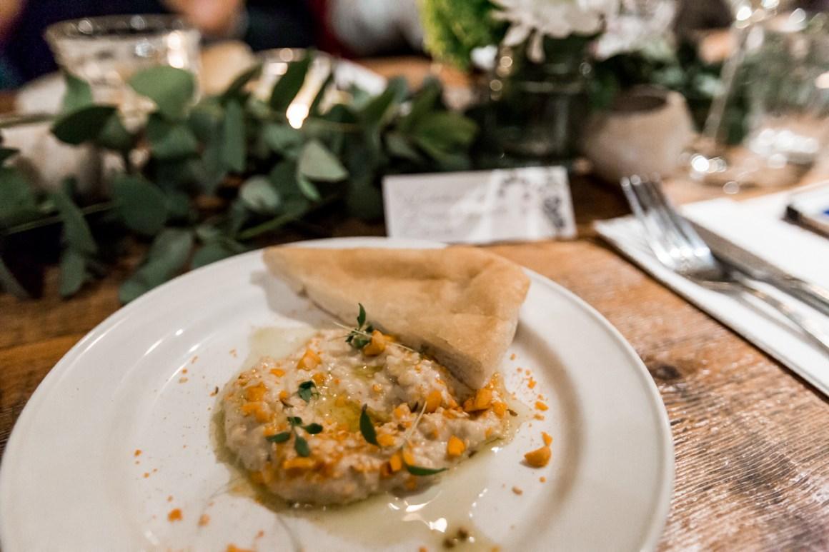 Vegan wedding starter with pitta bread