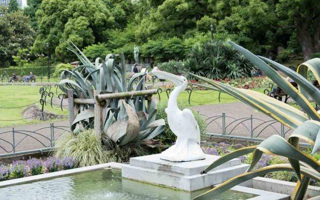 A white heron statue in Hibiya Park in Tokyo