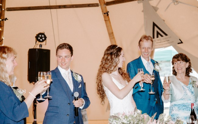 Speeches in tipi wedding Hertfordshire