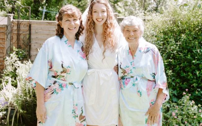 Three generations on wedding day