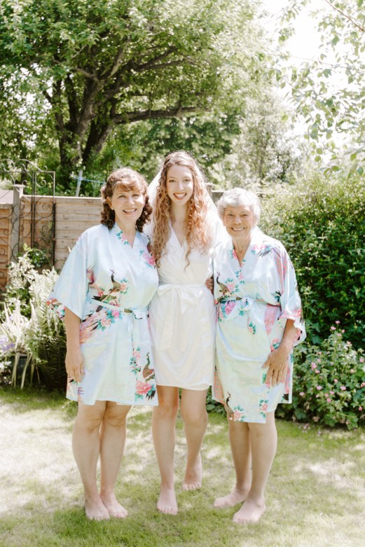 Three generations on wedding day