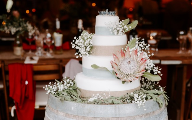 Bohemian wedding cake with large florals