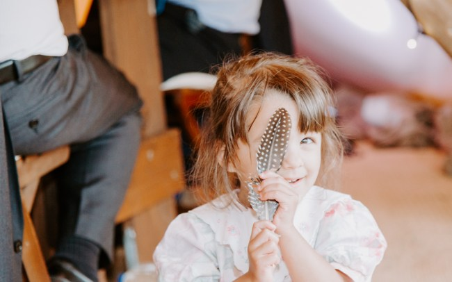 Cute little girl at wedding reception