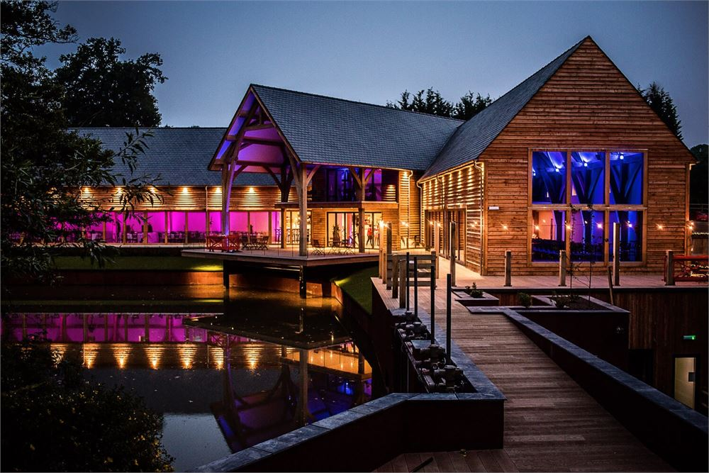 Gorgeous barn wedding venue lit at night