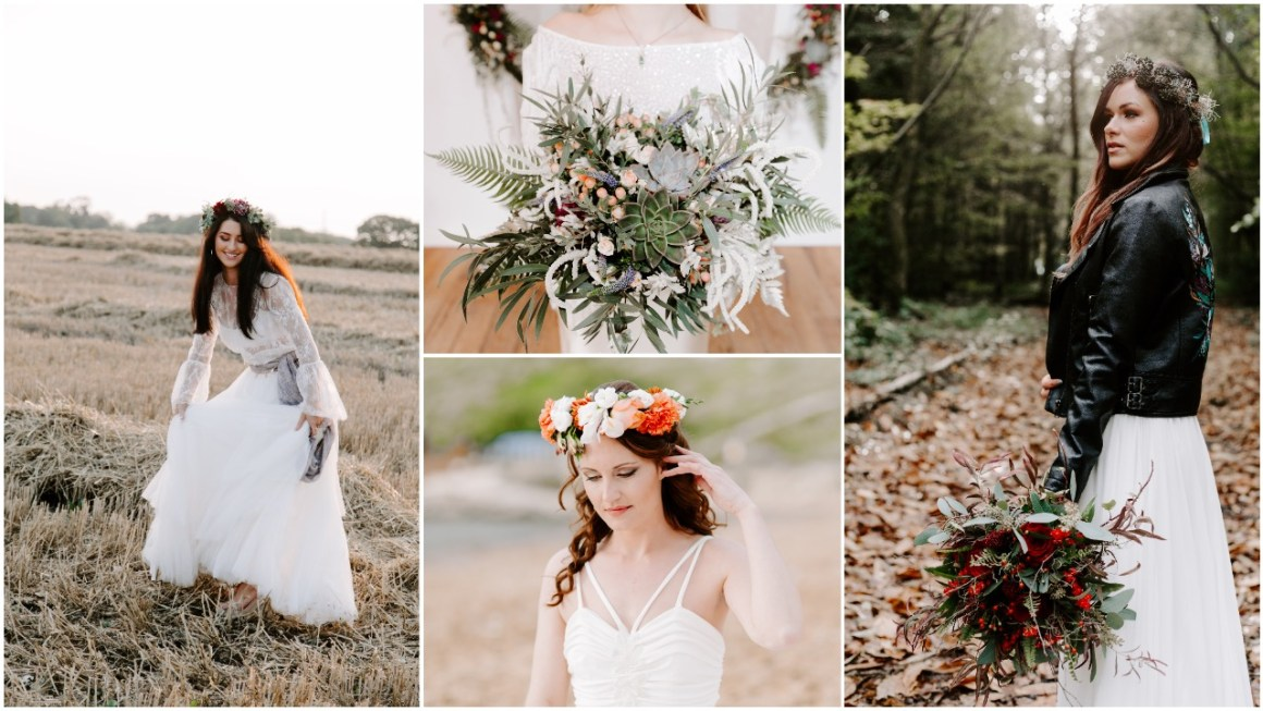 Collage of bohemian brides and bouquets