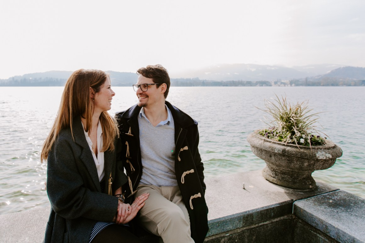 Lucerne engagement photography by the lake