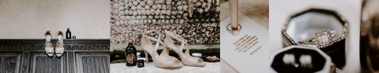 Creative wedding details shot of Jimmy Choo rings and