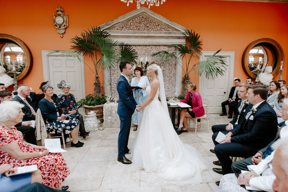 Wedding ceremony in the Lost Orangery at Euridge