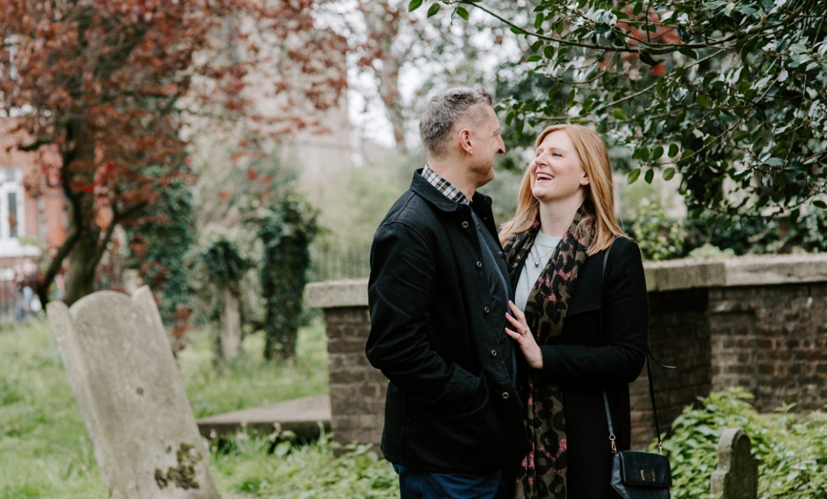 Couple on engagement shoot in Stoke Newington