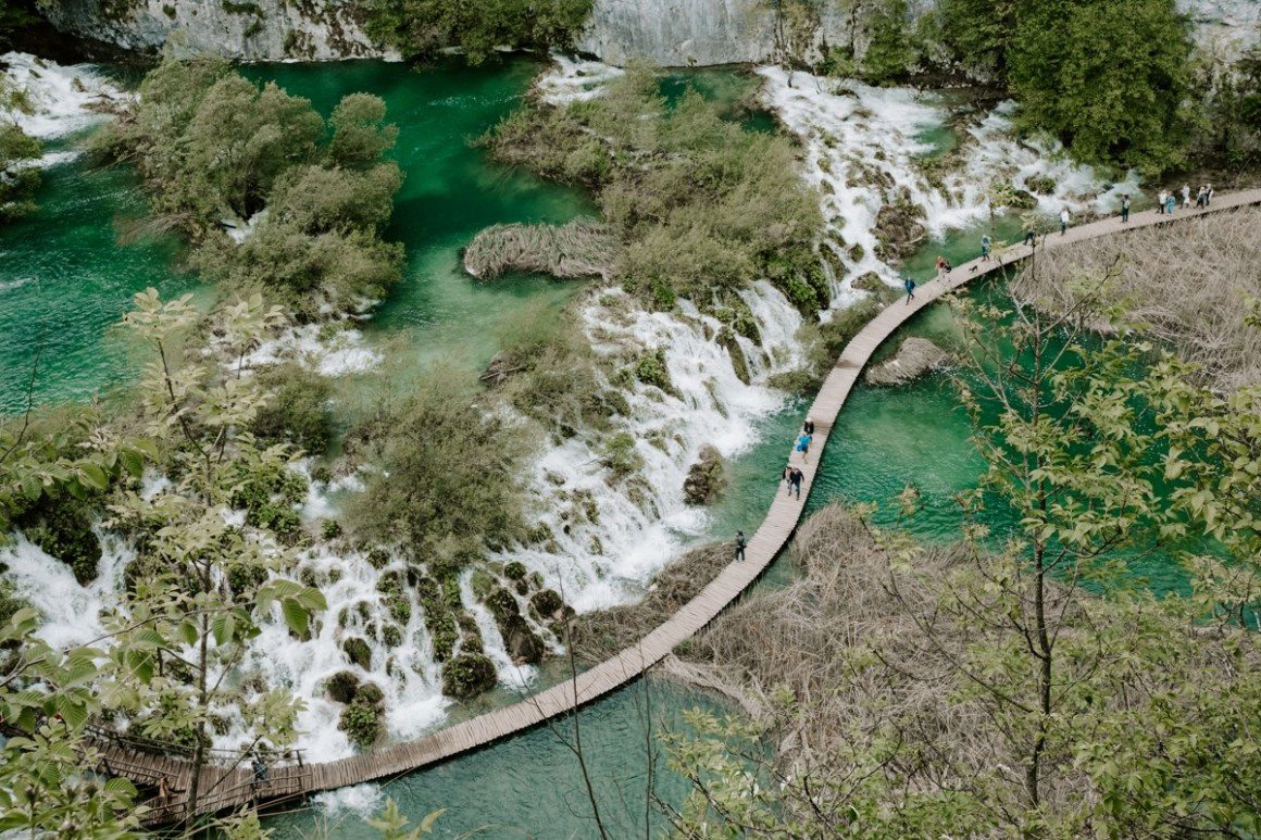 Top down view of Plitvics National Park