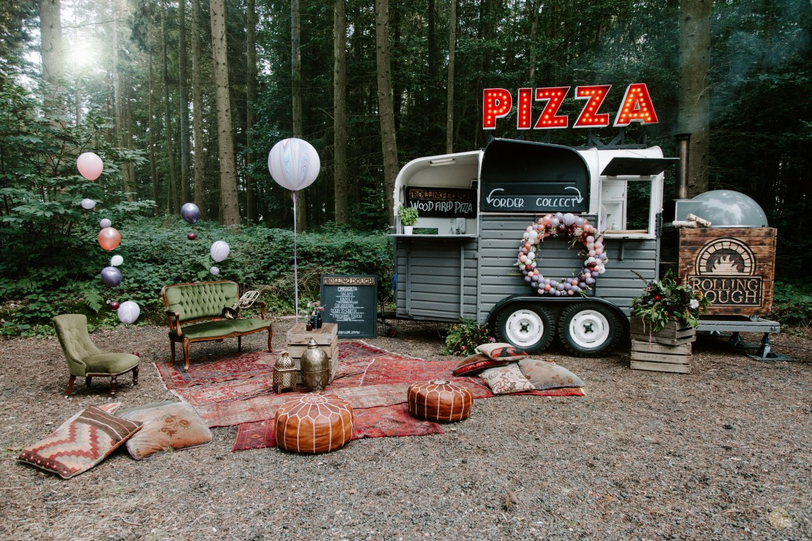 Pizza truck with picnic area at Longton Wood