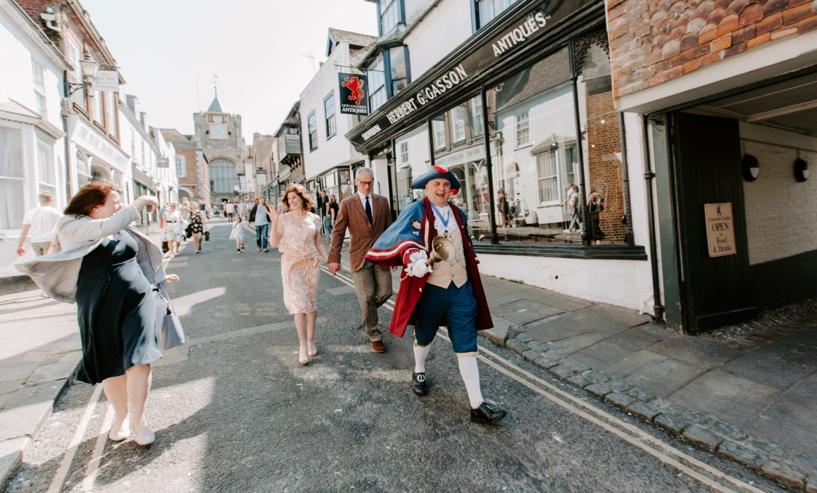 Rye Town hall cryer announcing newlyweds on the street