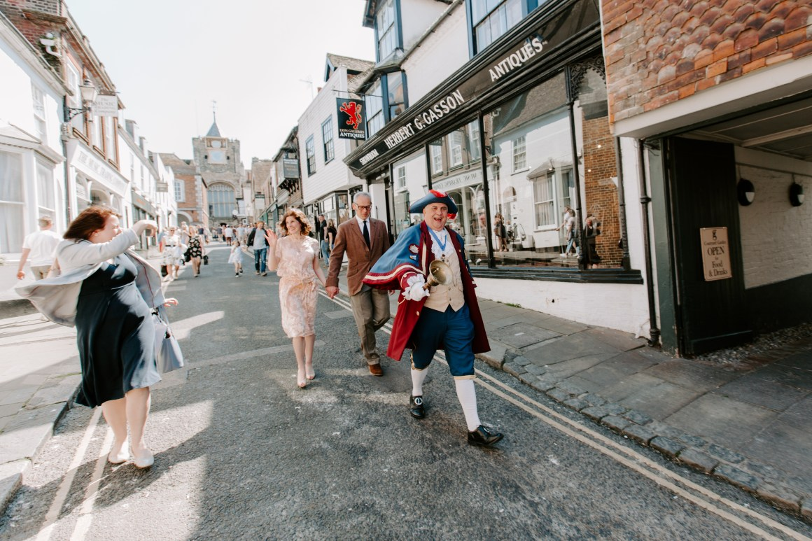 Rye Town hall cryer announcing newlyweds