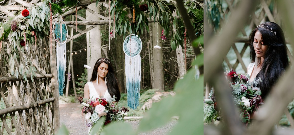 Outdoor wedding ceremony with dreamcatchers and greenery