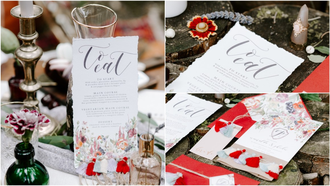 Bohemian wedding stationery with tassels