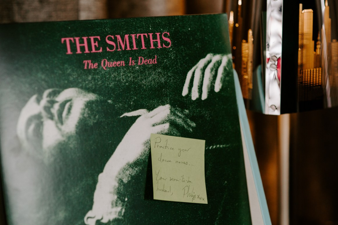 A Smiths record with hand-written note for a bride