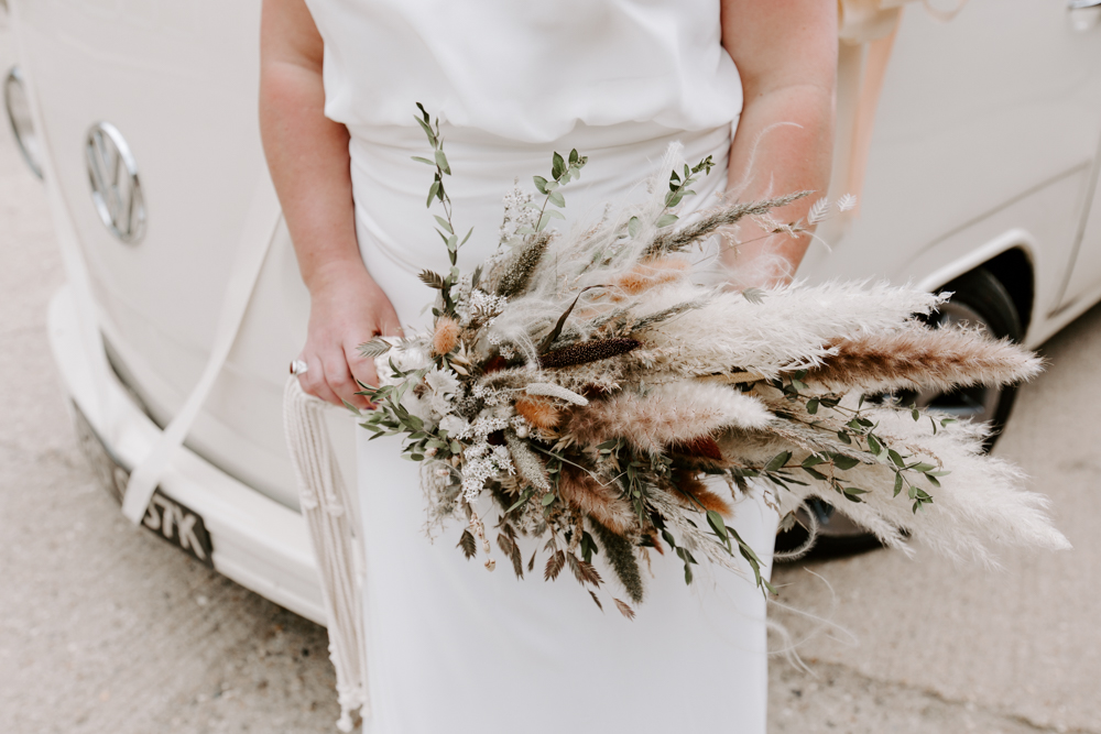 Dried flower wedding bouquet with pampas