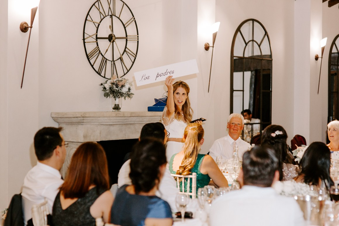 Bride doing speech with