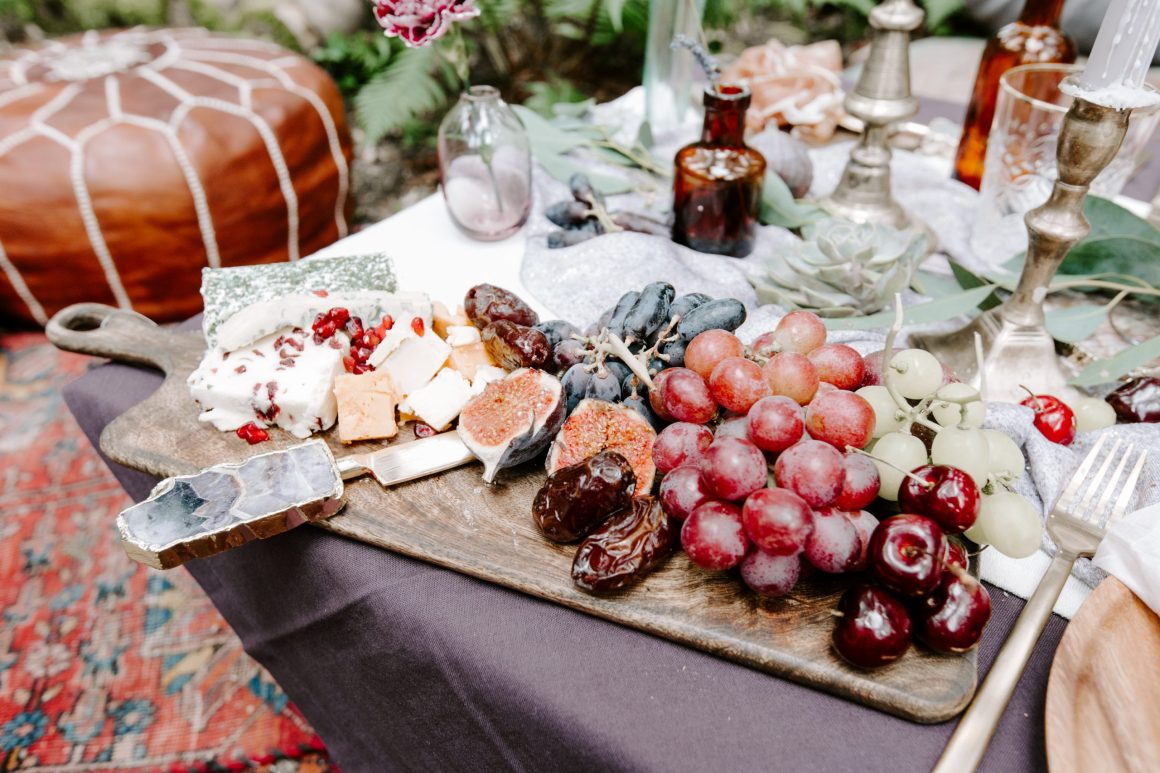 Grazing table at a woodland Kent wedding