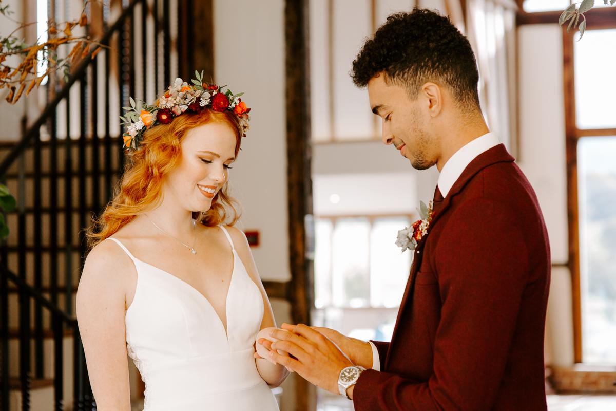 Barn wedding ceremony in Hertfordshire