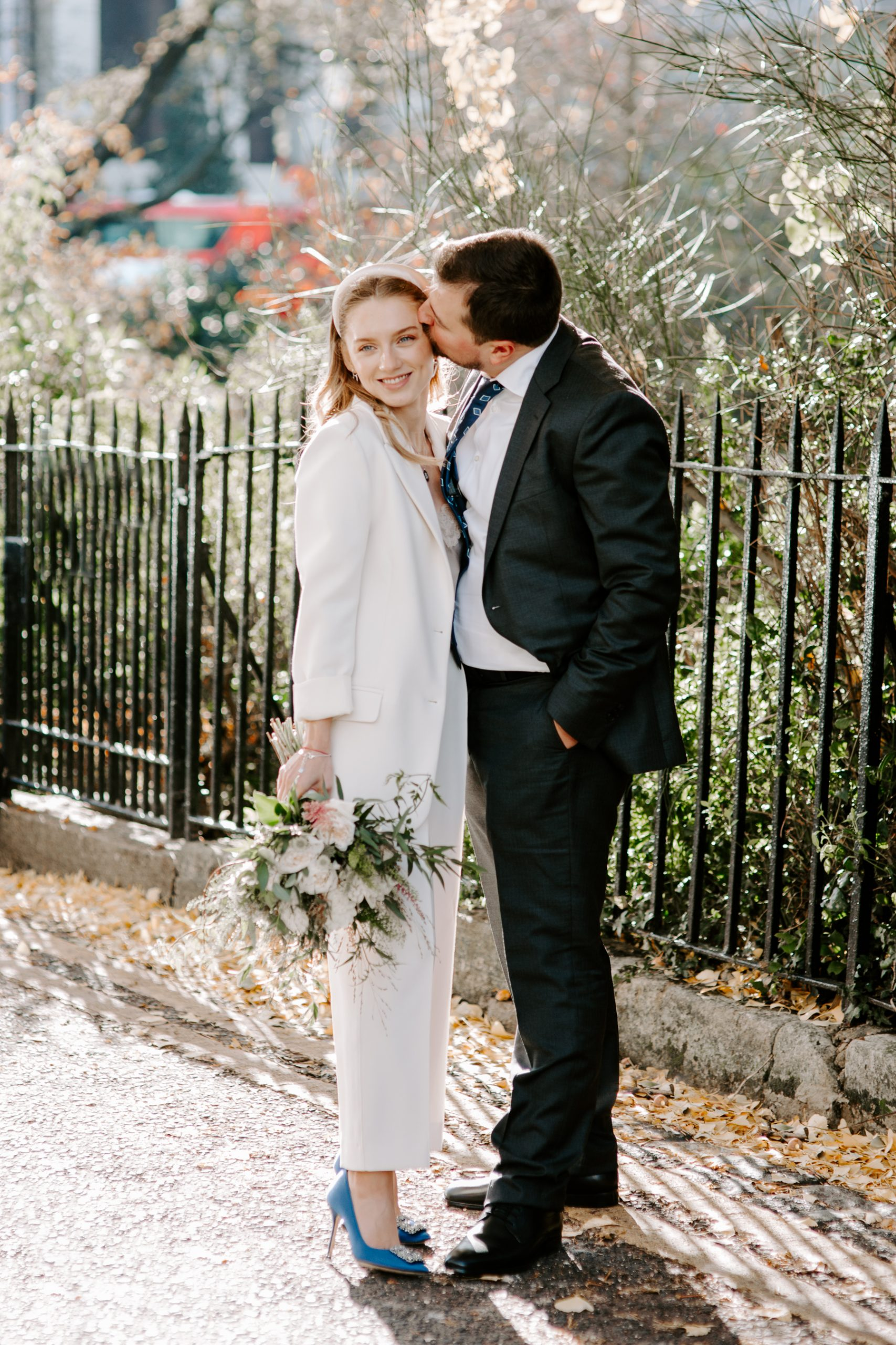 Bride and groom in Chelsea after town hall wedding