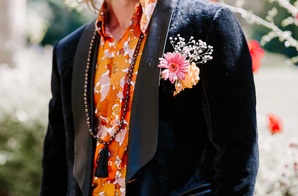 2021 groom wearing 1970s inspired suit