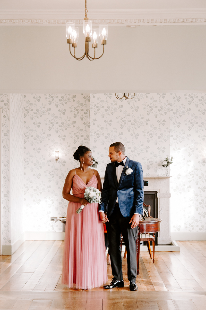 Bride and groom at Valentines Mansion elopement