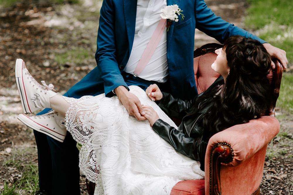 Bride wearing Wedding Converse