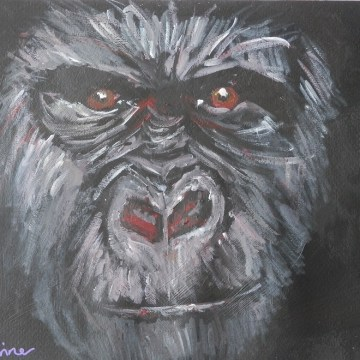 gorilla painting, ape art, red eyes, gorilla portrait