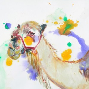 camel painting, camel art, desert painting, colourful smiling camel print