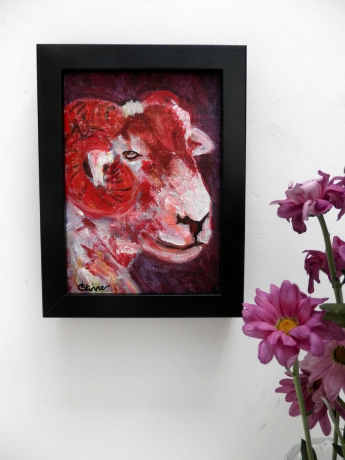 red sheep art, framed sheep painting, farmyeard animal art, red animal art, red sheep decor