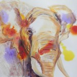 Framed African Elephant painting, acrylic elephant art