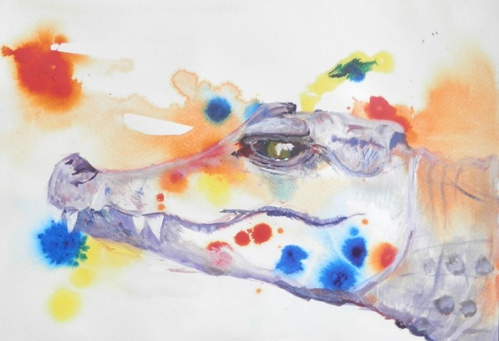crocodile painting, reptile art, crocodile gift