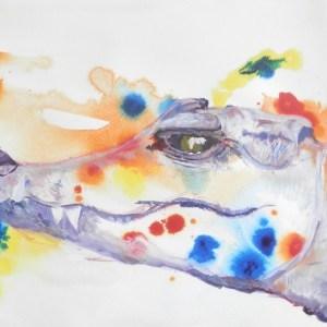 crocodile painting, reptile art, crocodile gift