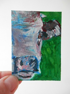 miniature cow painting, cow ACEO, purple and blue cow art