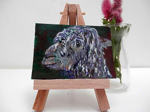 miniature alpaca painting, alapca art, llama gift, alpac ACEOs