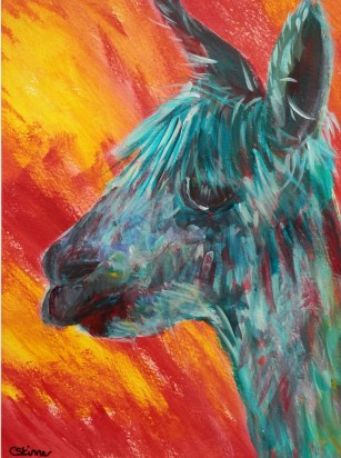 turquoise alpaca painting, red and yellow background, funky alpaca, llama art