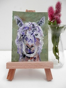 green alpaca ACEO, miniature alpaca painting, llama art, ACEO alpaca print, green ACEO art, ACEO original alpaca painting