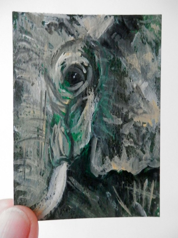 Small green elephant, green elephant ACEO, miniature green elephant, green wildlife ACEO