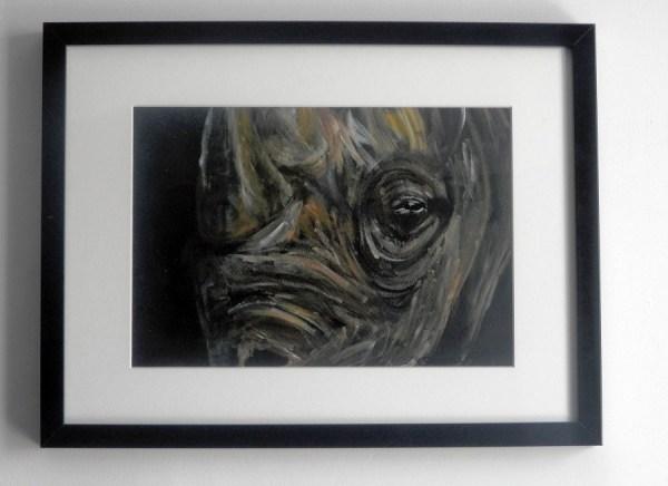 black rhino, yellow rhino, rhino painting