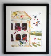 pigeon loft, flying birds, funky birds, paitning commission