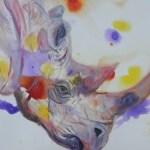 purple black rhinp painting. original rhino art, endangered animal