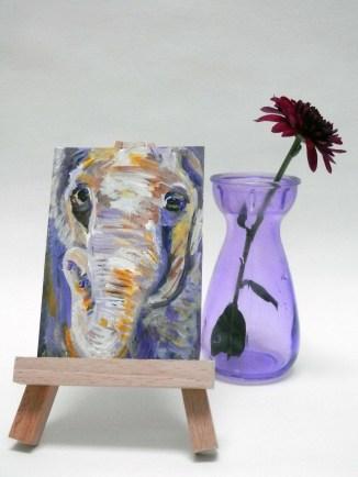 purple and yellow elephant ACAO, miniature purple elephant, purple elephant artist trading card