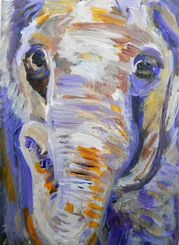small elephant portrait, purple elephant ACEO, miniature elephant painting, acrylic elephant ACEO, purple and orange elephant art