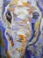 small elephant portrait, purple elephant ACEO, miniature elephant painting, acrylic elephant ACEO, purple and orange elephant art